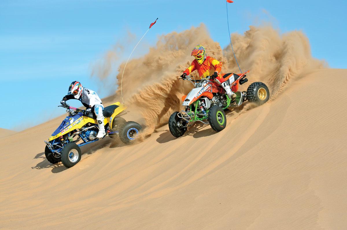 SHOOTOUT: Honda 250R vs Suzuki Quadzilla 500 | Dirt Wheels