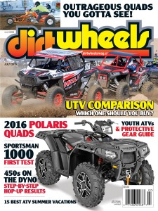 ON THECOVER: This month's cover is dominated by the super-fast and very capable 2015 Polaris Sportsman 1000. Also, you can see Mark Barnett charging hard past the competition at the UTV World Championships in the Monster Energy-sponsored Fabworx RZR.
