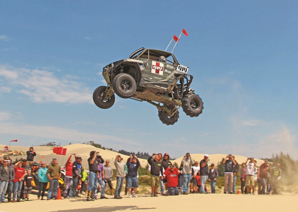 "Huckfests were one of the many activities for riders to participate in. Whoever can launch their machine the highest and furthest wins the ""air show."""