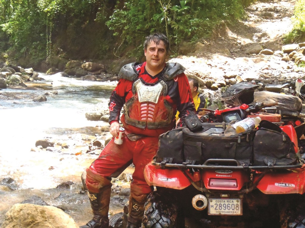 Here is Arturo Herrera taking a break and cooling off along a clear mountain stream.