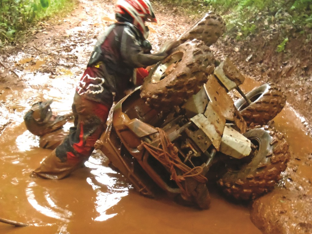 Just how far can a 4x4 quad lean without tipping over? About that far.