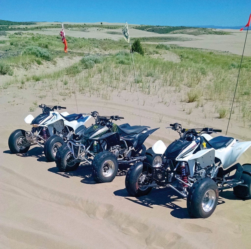 Here are three 450Rs during a day of riding fun at St. Anthony Dunes in Idaho. They belong to Utah residents Brent McFarland, his brother and their friend. Their machines have ported and polished heads, Stage 3 Hot Cams, CRF450 carbs and run full-aftermarket exhaust systems.