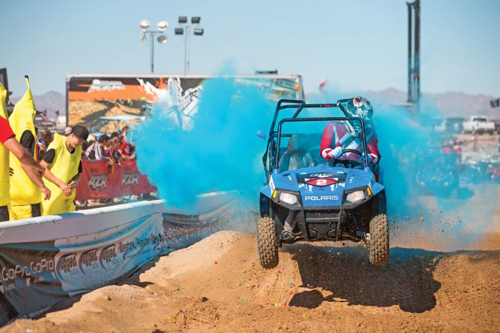 A celebrity RZR 170 race is a Camp RZR West tradition each year. Racing stars like Travis Pastrana show up for the fun.