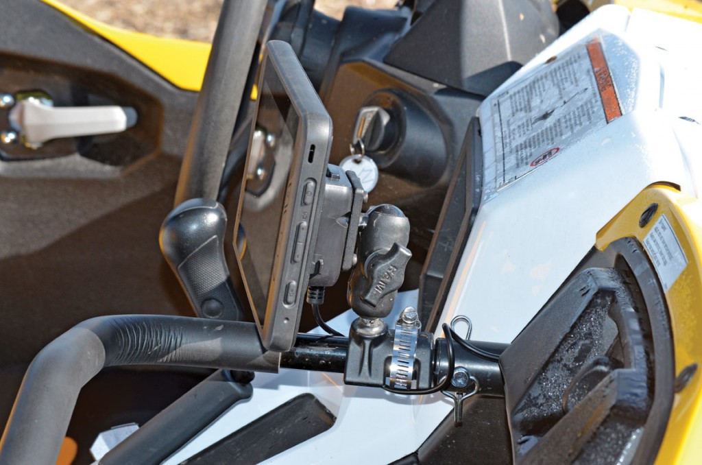 Using a Ram mount, we can quickly move the TRX7 GPS from one machine to another in our testing fleet. The TRX7 is powered by a rechargeable battery, or it can be wired directly to the vehicle's 12-volt battery.