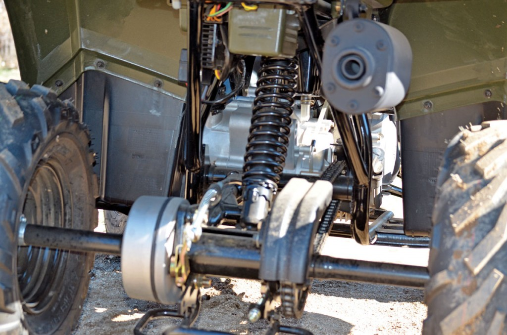 Out back a solid-axle swingarm moves up and down a full 6 inches. Both machines have a chain drive, drum brakes and are very quiet.
