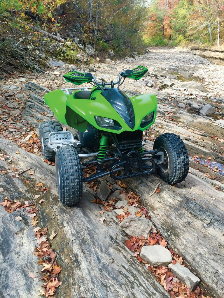 Here is Seth Riggins' favorite machine for riding the old logging trails and creek beds of Broken Bow in Oklahoma. The big V-twin powerplant of his 2004 Kawasaki KFX700 still gets the job done, and he proudly keeps it in good shape.