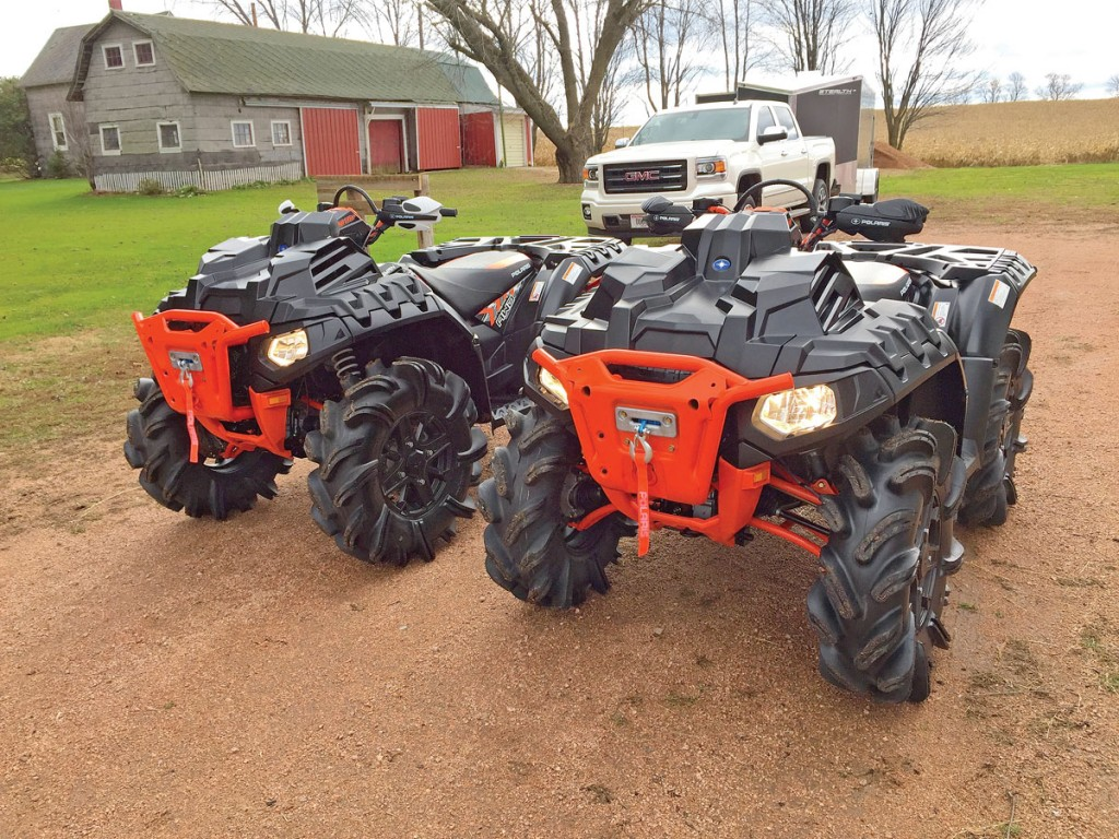 Dan Bohn recently bought two brandnew 2016 Polaris High Lifter 1000s for his wife and himself. With the rack-mounted radiators, extra ground clearance and beefed-up parts, they're ready to tackle the toughest mud holes in Wisconsin. At this time of the year they have to be able to get through the deep snow of the frozen tundra too.