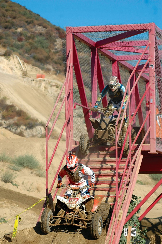 Chances are a set of stairs will not be in the middle of your trail, but steep descents require the rider to scoot to the back of the seat and keep a firm grip on the bars. Avoid hitting obstacles that can stop you abruptly and send you over the bars.