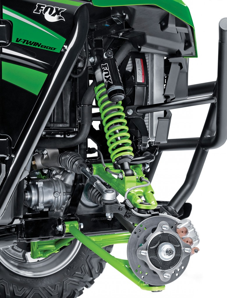 The Teryx has Fox Podium 2.0 shocks on all four corners with dual-A-arm suspension. Hydraulic disc brakes slow down the front, while sealed, multi-disc brakes slows down the rear of the machine.