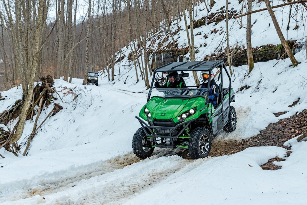The Teryx has a width of 61.6 inches, so it can fit on a lot of tight trails. We tested this Teryx at the Hatfield-McCoy trails in West Virginia, which is a great place to ride.