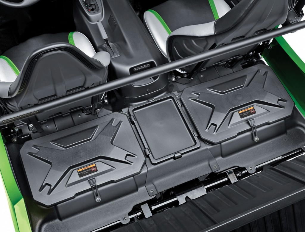 Behind the seats of the Kawasaki are two bins that can hold a total of 48 gallons of cargo. There is a spot for a small cooler as well.