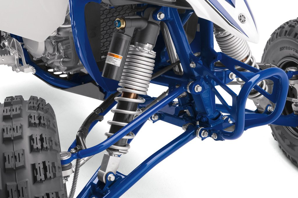 The front KYB® shocks are longer for increased stroke with superb bump absorption and excellent anti-bottoming characteristics, and they have Kashima™ coating for smooth operation. 9.8 inches of wheel travel means this racer is up to even the most challenging tracks