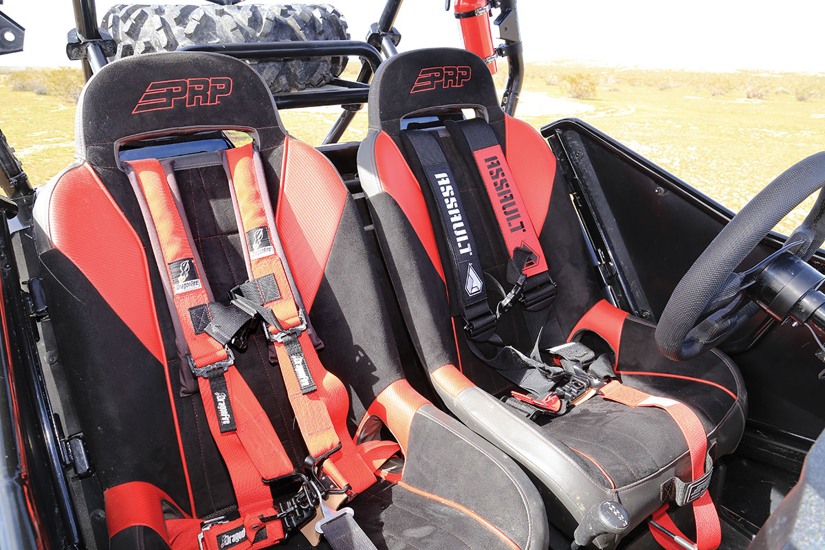 To keep us safe and comfortable, we installed a pair of PRP seats with Assault Industries 3-inch harnesses in the driver's seat and a 2-inch DragonFire Racing harness in the passenger seat.