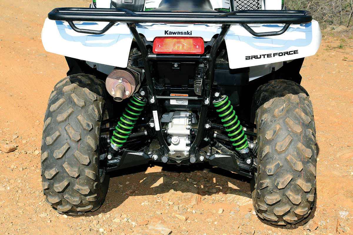 The rear independent suspension has 7.5 inches of wheel travel. The shocks have a spring preload adjustment, which is best at the softest position when you don't have the racks loaded down.