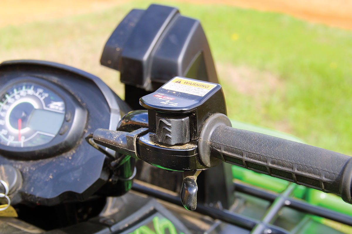The 4x4 system comes with a front-locking differential that is operated through a control on the handlebars.