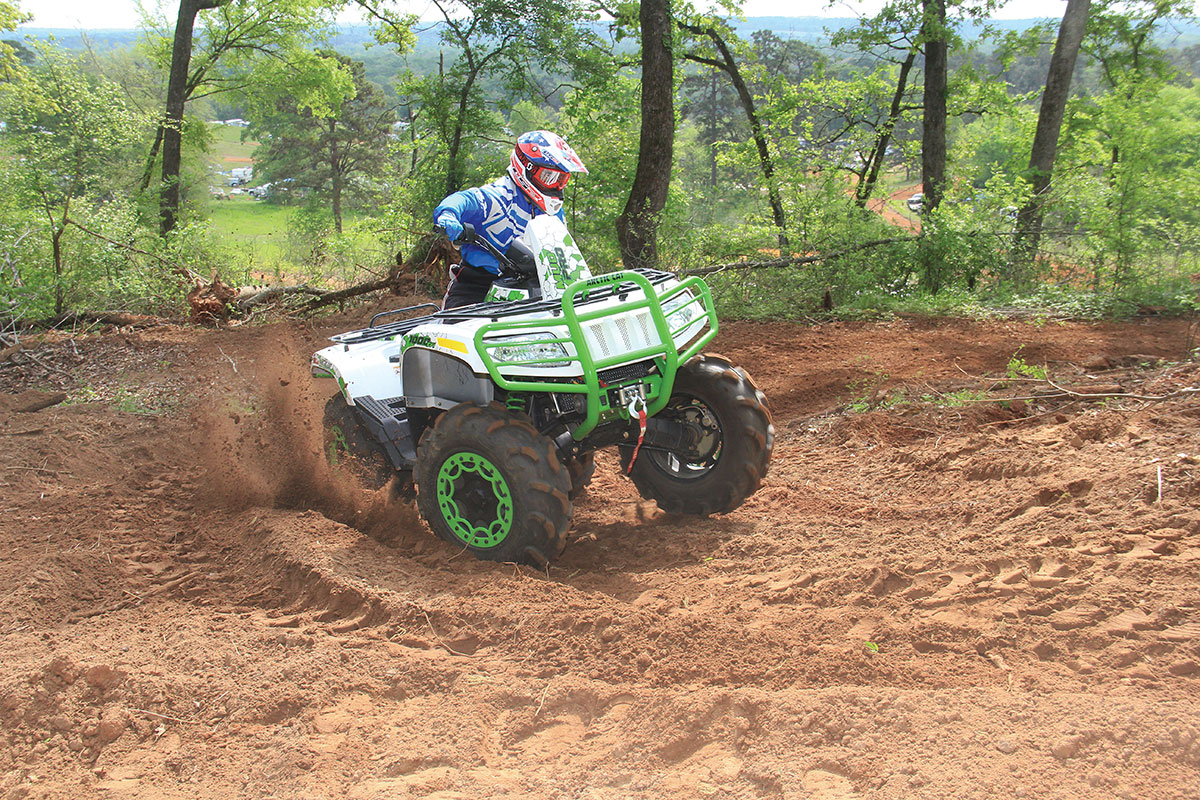 The suspension on both the 700 and 1000 Mudpro is stiff when going slow. The 1000 can handle faster riding due to its longer frame.