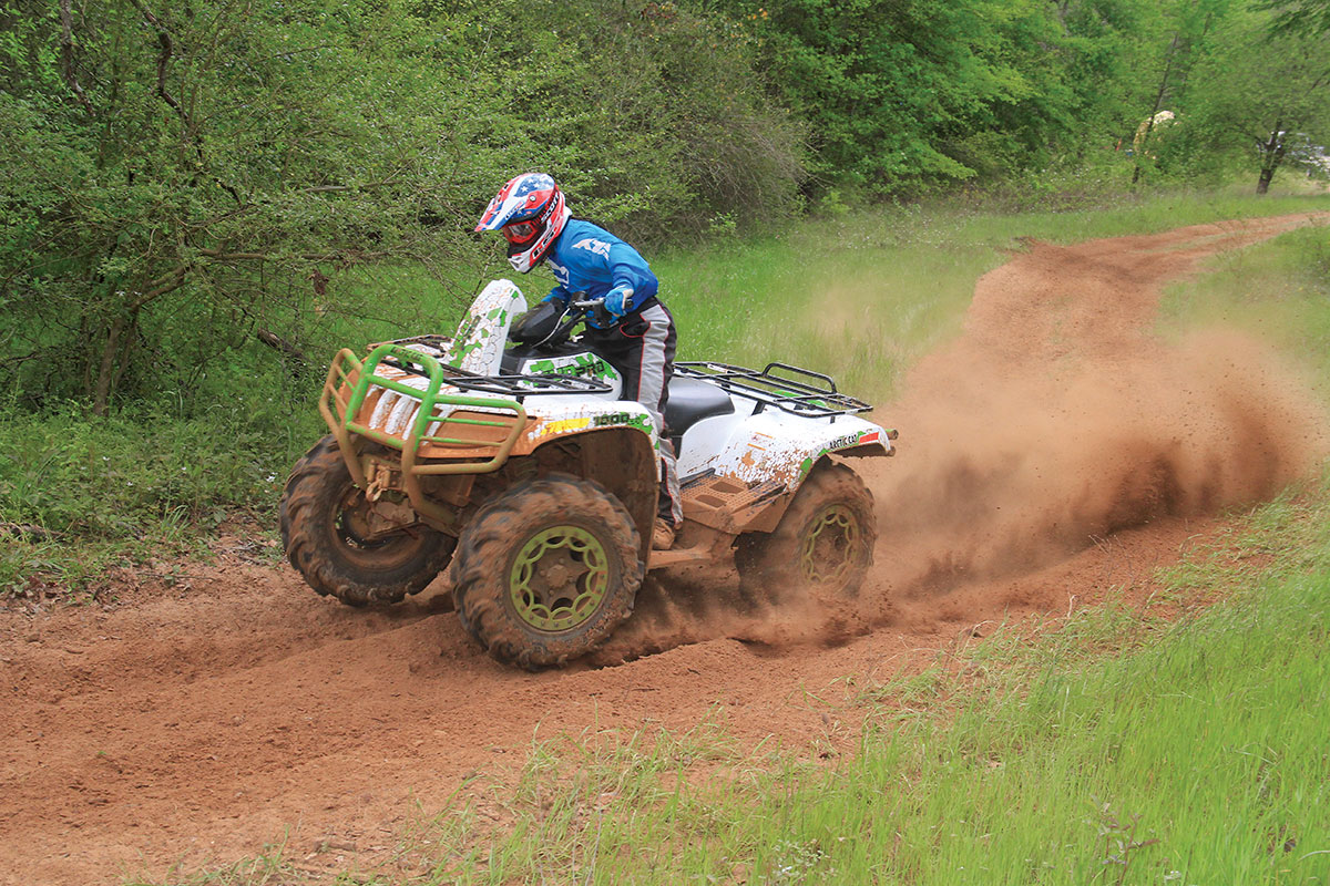The 1000 corners well for a big 4x4 quad, and the stiff suspension helps.