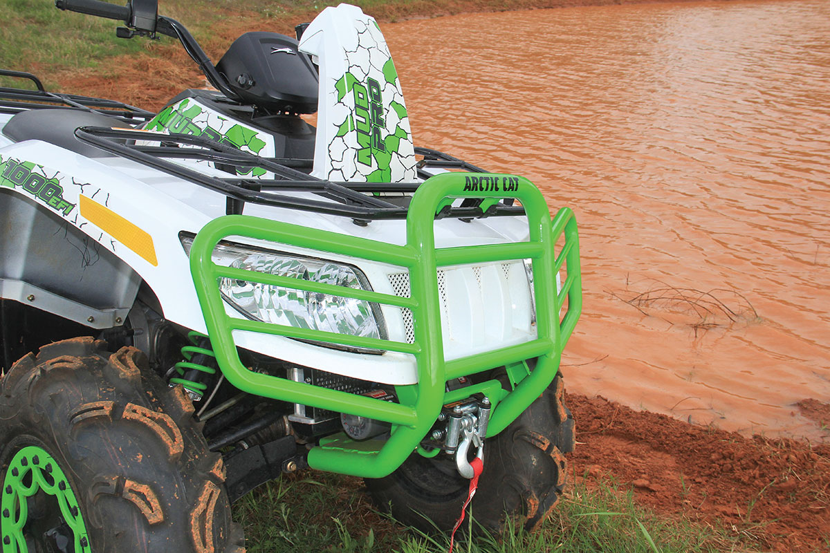 Both Arctic Cats come with a heavy-duty front bumper with a winch included.