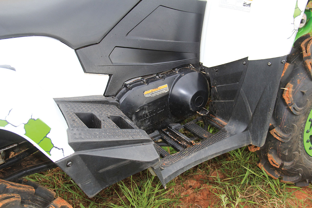 The 1000 shares the same frame as a 2-up ATV in their line. This means you get a second set of footpegs to stand on when you are deep in the mud.