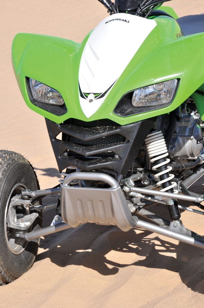 The Kawasaki 700 front end looks very transformer-like. It appears ready to mutate into a robot and start chomping on you. Suspension is plush and comfortable, as long as you keep the speed level down.