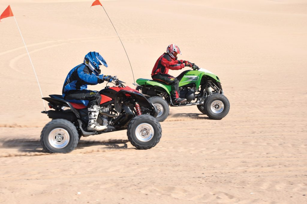 In our dune sand drag competition the CVT tranny on the Kawasaki would get the holeshot almost every time