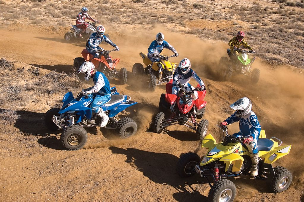 In the corners, the YFZ450 and KTM quads went right where you pointed them every time. They weren't the least bit tippy. The Kawasaki and the Honda suffered the most here. In the suspension department, the KTM, YFZ and the Outlaw were more responsive to compression, rebound and preload changes. The Can-am didn't need adjusting and the Suzuki could use a ride specific rebuild kit if it's going to be raced.
