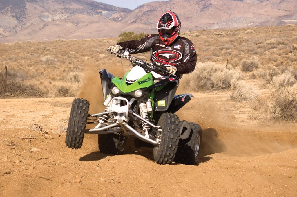 Kawasaki has a very light front end. It makes the whole machine feel much faster than it is. We like ITP's Holeshot SR tires as replacements for the stockers. A one-tooth smaller rear sprocket will also help it in the traction department.