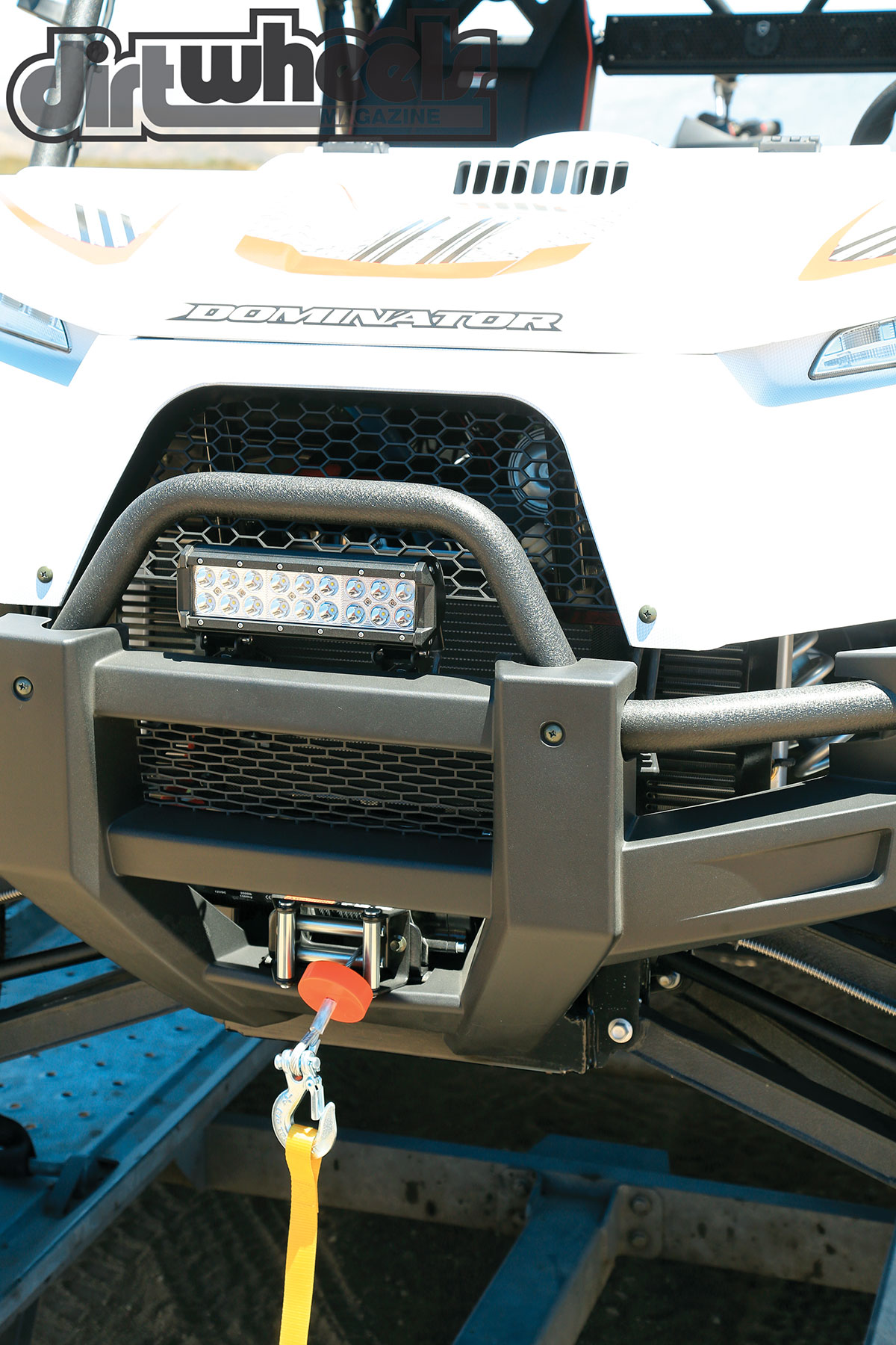 ODES has gone above and beyond to create a trail-capable machine. Here is the OEM bumper, winch system and LED light bar.