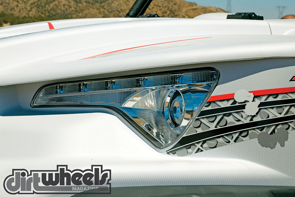 The LED projector headlight assembly offers integrated turn signals that will allow you to make this machine street-legal if your state allows it.