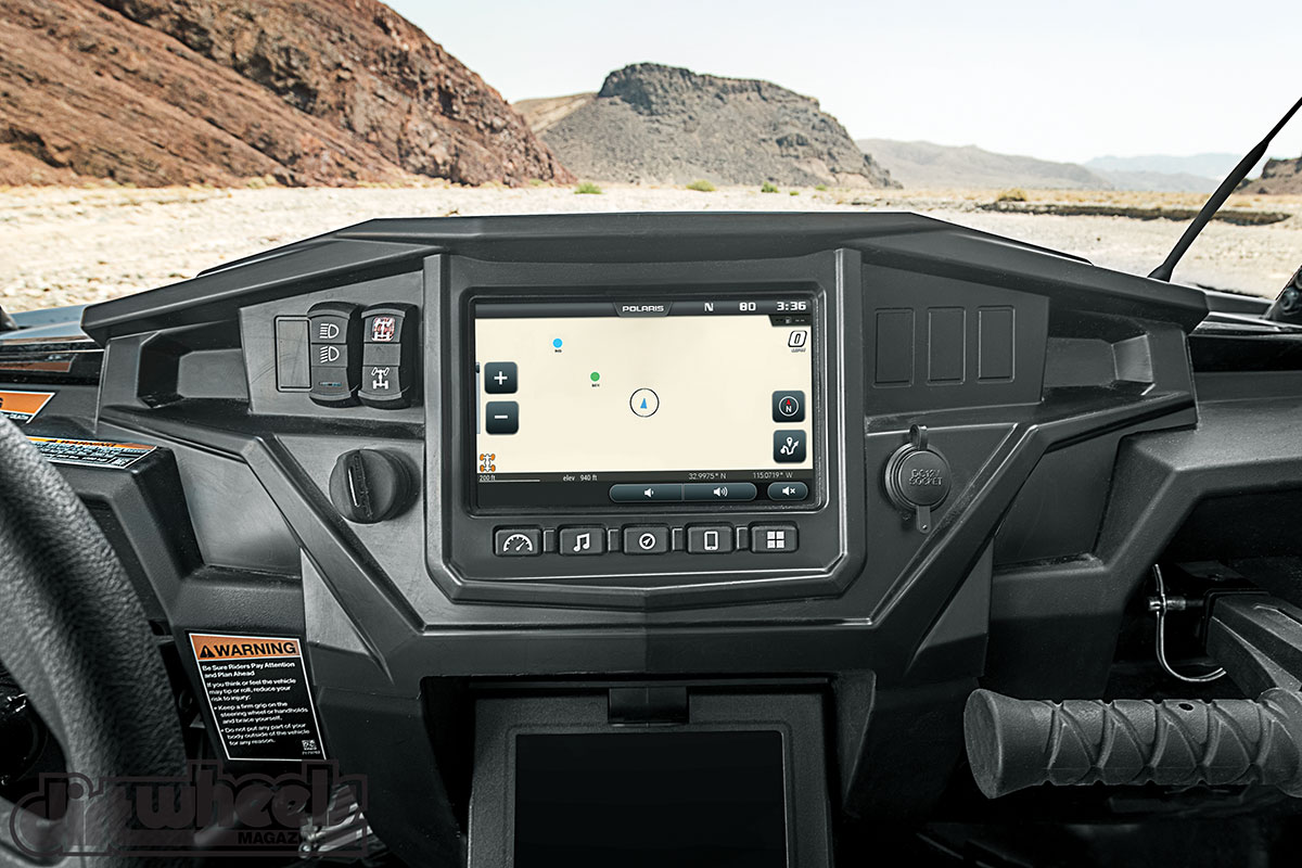 Ride Command is a 7-inch touchscreen that allows you to see where your riding buddies are via GPS, find waypoints, a display to view texts and calls, and more. It is included in the RZR XP 1000 EPS Velocity Blue Limited Edition model, but an option on other models.