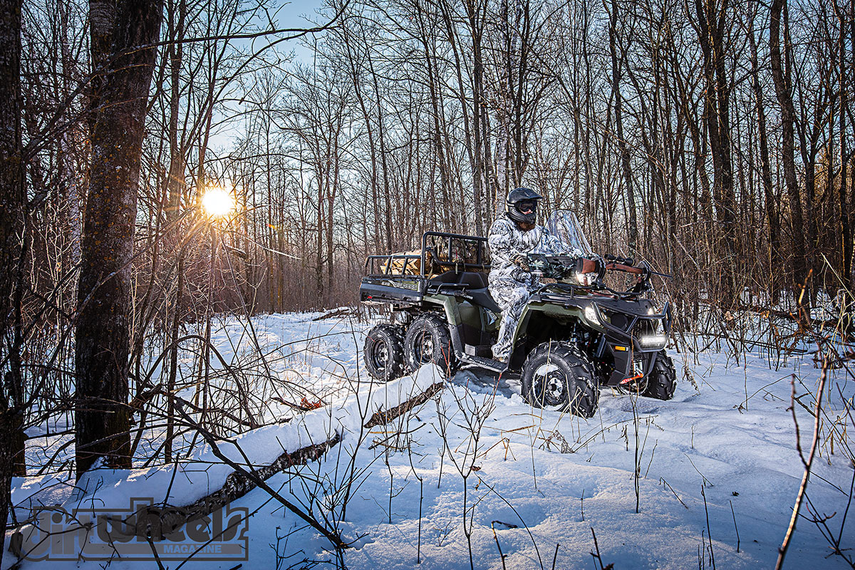 The Sportsman Big Boss 6x6 570 EPS is the only 6x6 that has two-up capability. It can carry 800 pounds of cargo in the dump bed. It also has true AWD and an engine braking system. It retails for $10,999.