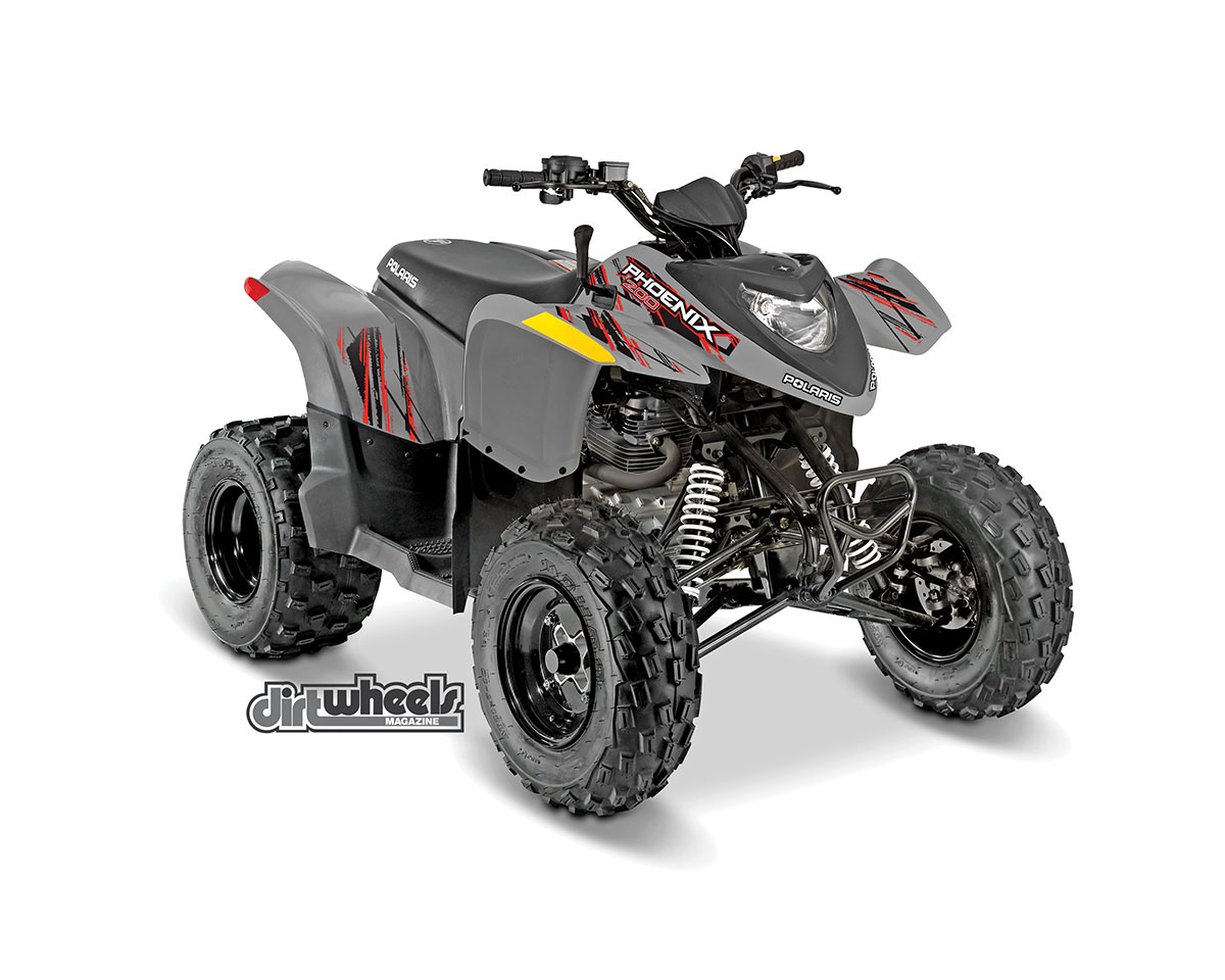 Polaris' $3799 Phoenix 200 sport quad is back with a new color scheme and graphics. Its air-cooled, 196cc engine is mated to an automatic PVT transmission. It's shaft-driven for easy maintenance.