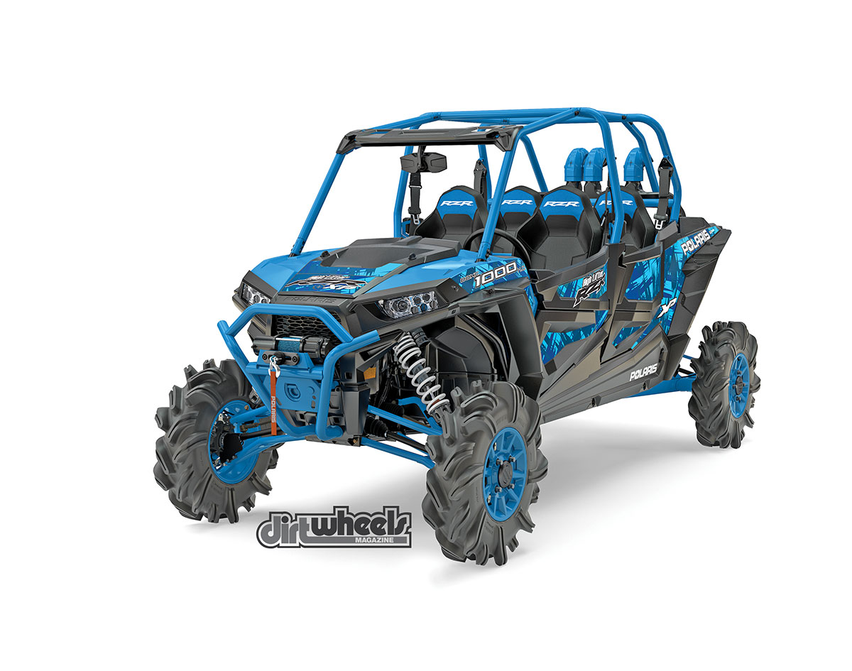 The $25,699 High Lifter Velocity Blue RZR XP 4 1000 EPS edition offers high-mount intakes/vents, lower gearing, stiffer springs, high-clearance A-arms, a winch, true On-Demand AWD and 29.5-inch High Lifter Outlaw 2 tires.