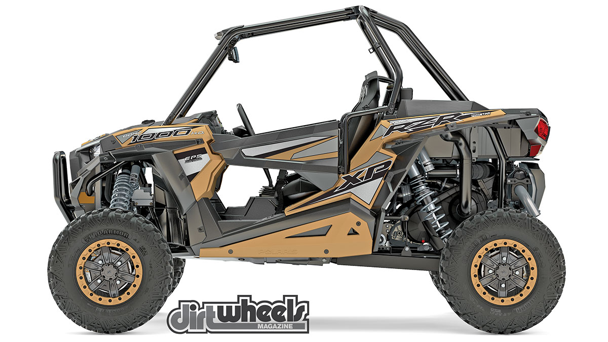 The Gold Matte Metallic RZR XP 1000 EPS Limited Edition model is very sharp-looking and offers high-clearance suspension, a gated shifter, a gear reduction in low, full skid-plate protection, beadlock wheels and 30-inch Pro Armor Crawler XG tires. This model retails for $23,999