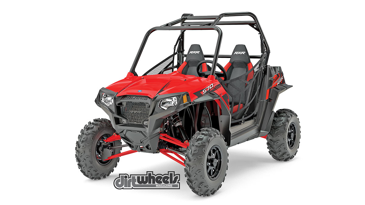 New for 2017 is the RZR S 570 EPS model. It's 60 inches wide for better handling, and offers a 45-horsepower, fuel-injected ProStar engine. The dual-A-arm suspension offers 12 inches of travel in the front and 12.5 inches of travel in the rear. The RZR S 570 EPS is a bargain at $12,999.