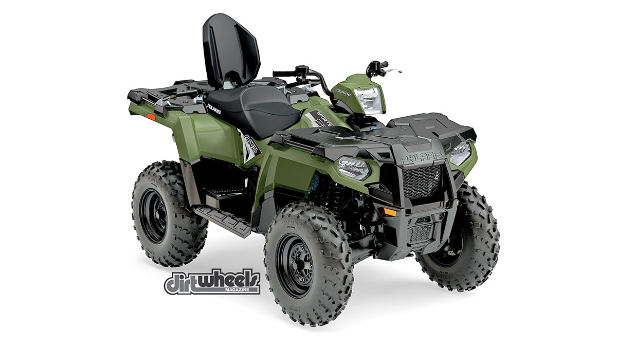 If you fancy a two-up ATV, a great option is the Sportsman Touring 570. The passenger seat is narrow at the side panels for increased comfort and control. It's very easy to mount and dismount from the rear of the quad. It also offers the On-Demand all-wheel drive and integrated front storage. It retails for $7699.