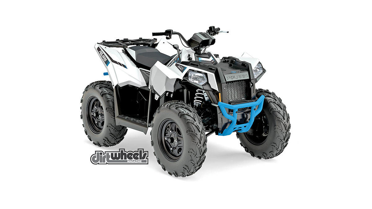 The Scrambler 850 is back for 2017, but not much has changed from the previous model year. Its graphics get an upgrade with Polaris' White Lightning color scheme with a blue bumper that looks great. Its ProStar twin EFI engine puts out an impressive 78 horsepower. It retails for $9799, which is $3500 less than the Scrambler XP 1000.