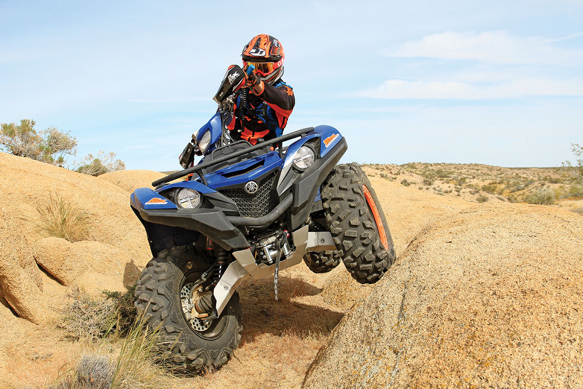 Yamaha Accessories sells a 2500-pound Warn winch system and full skid plates for the Grizzly.