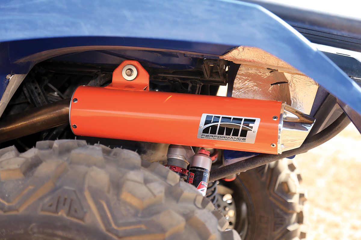 HMF's Performance-series slip-on muffler not only has a great tone, it helps add power through the whole range. If you pair it with their power programmer, you can utilize the muffler's full capability. They normally come in silver.