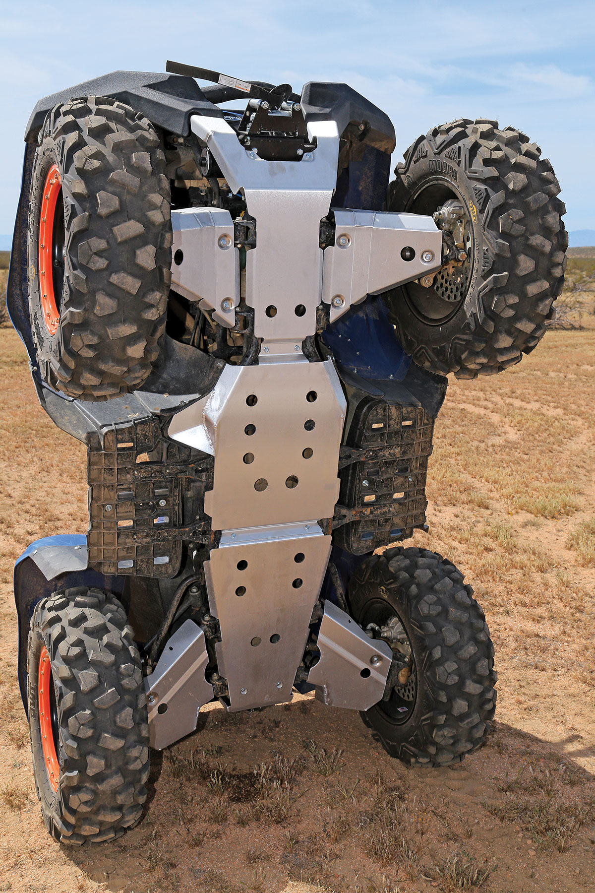 Yamaha offers skid plates for the Grizzly 700 that include a front bash plate, belly skids, as well as front and rear A-arm skids.