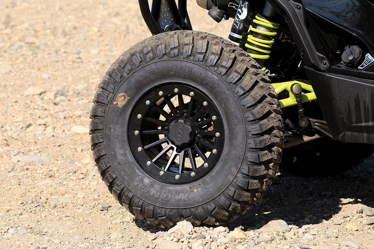 GBC Kanati Mongrel tires add a little ground clearance, and the DOT construction reduces the chances of punctures. With the double-beadlock ITP wheels, they make a formidable package.