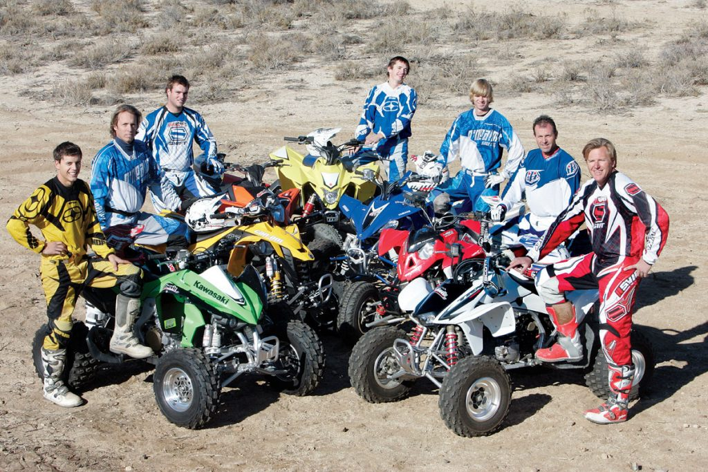 Our test-rider contingent for this shootout consisted of (from the left) Daniel Coutuer, Brad Johnson, Derreck Murphy, Logan Holladay, Daniel Hendrix, Mark Mallott and Ty Godde. These expert riders, along with out staff, collaborated to come up with our final conclusions.