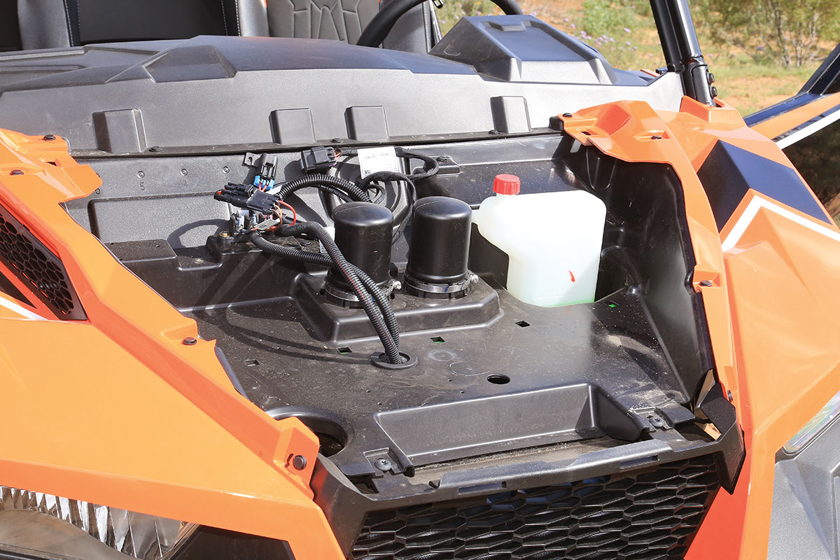 Polaris has air intakes for the engine and the CVT case under the hood.