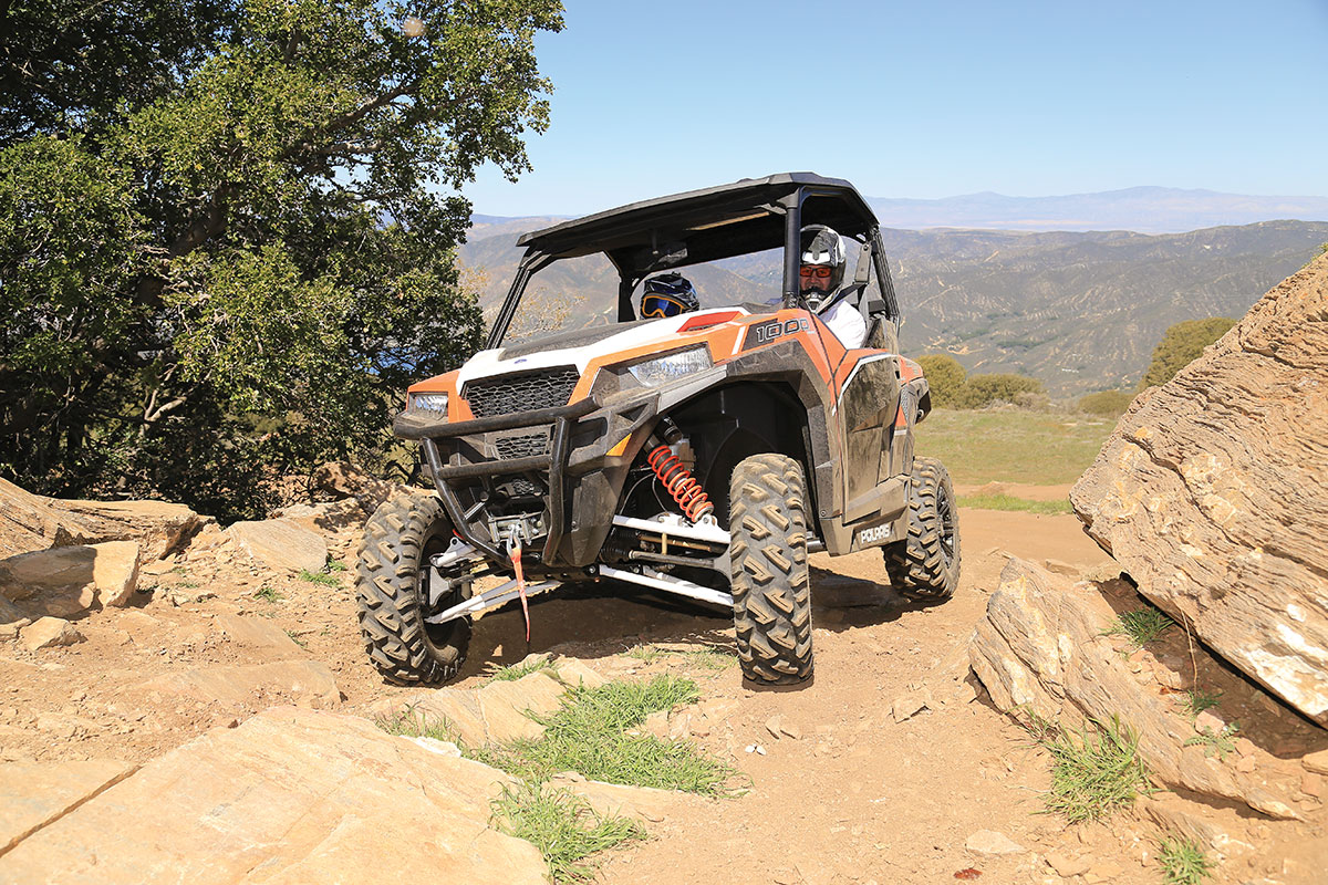 When you are driving in low-range 4WD, the Polaris has lower gearing.