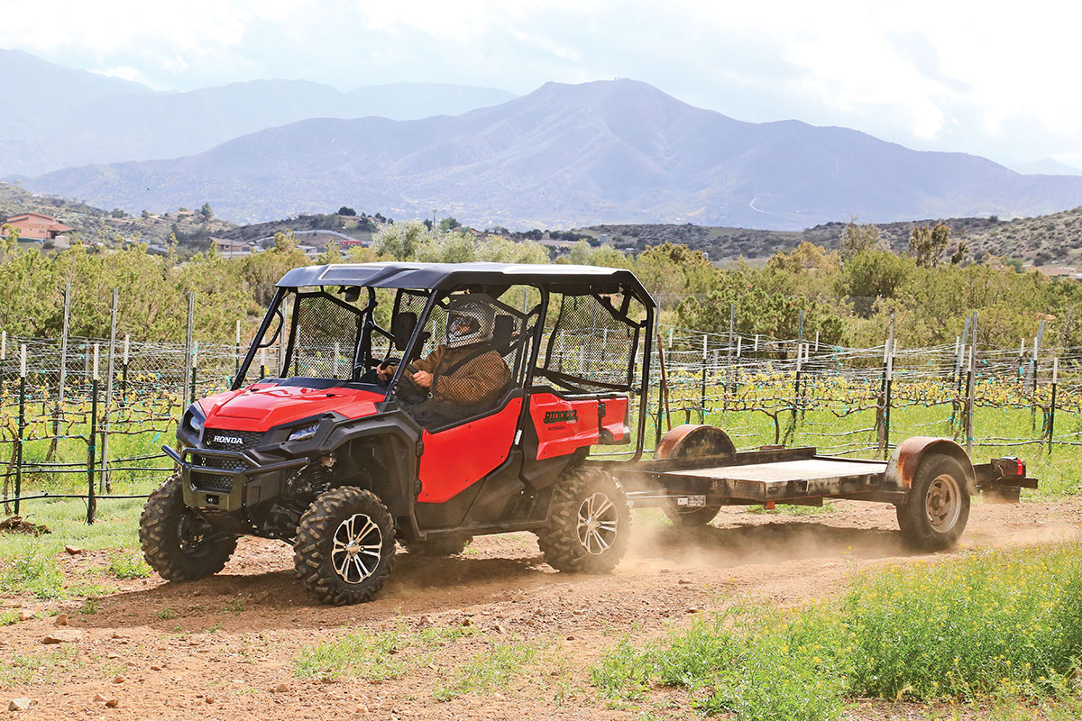 The Honda pulled this full-size, 500-pound ATV trailer easily. It is rated to pull 2000 pounds.
