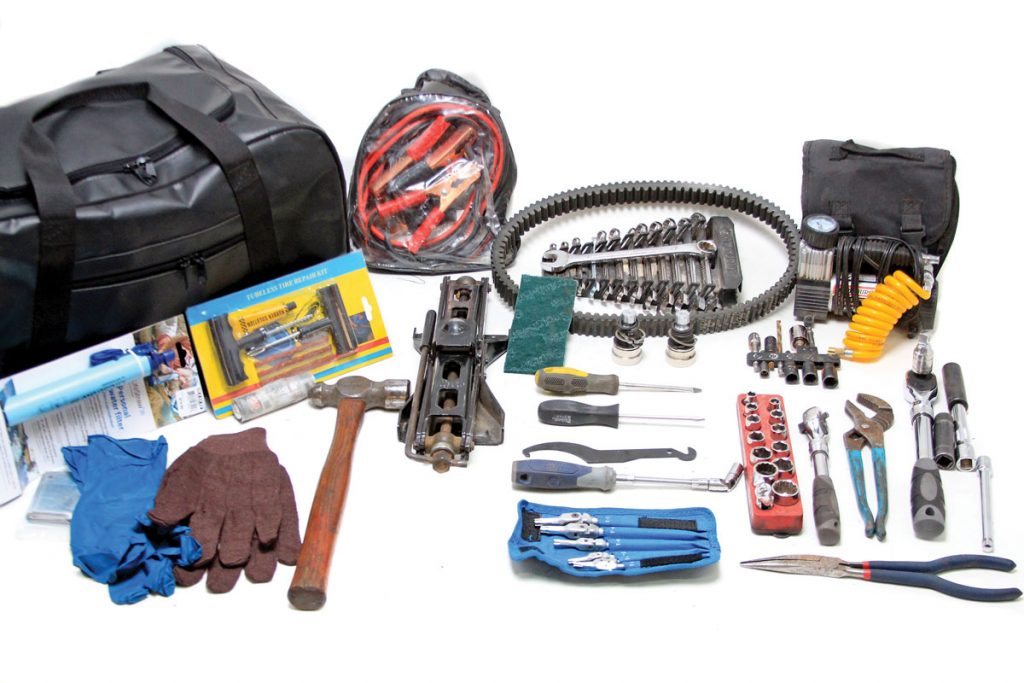 This is pretty much the whole kit. With these supplies at hand, there are very few common mechanical issues that we can't resolve. The bag gets seriously banged and rattled off-road, so note that as many of the hand tools as possible are contained so they don't bang around and potentially get lost.