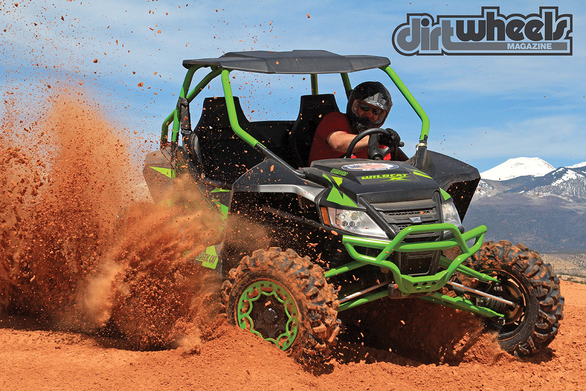 Camp Chef's Brooks Hansen was more than happy to throw red sand in the Wildcat X Limited. The front pushes when rammed into turns hard.