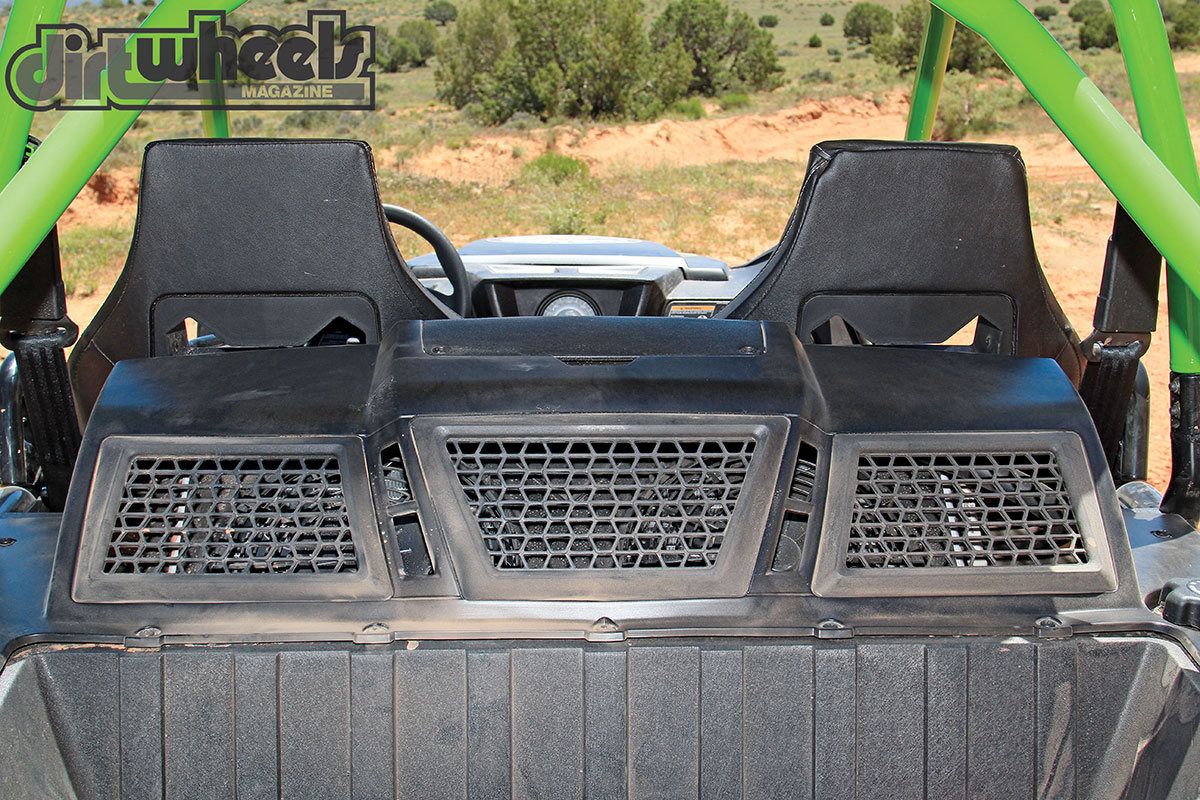 The air intake for the machine is high and out of the water and dust you experience on the trails. We didn't notice that it added any noise that intruded into the passenger compartment.