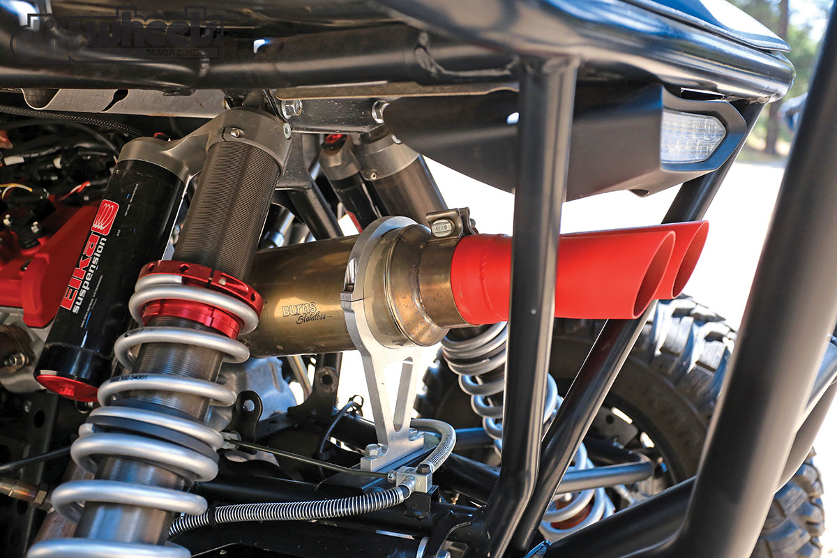 Assault Industries has a custom-made exhaust installed by Burns Stainless that gives the YXZari a crisp and raspy sound.