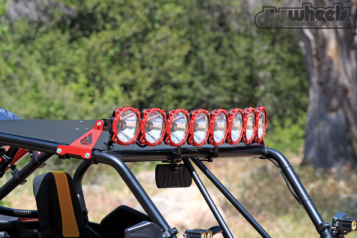 A super-bright light system is bolted onto the Yamaha. These KC Hilites Pro-Sport lights make you feel like you are driving during the day with how bright they are. They are bolted up in an elliptical shape to provide a wide light beam.